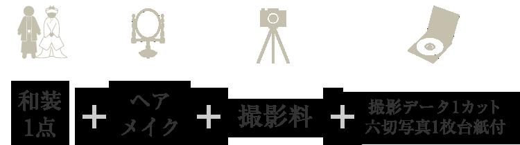 和装1点+ヘアメイク+撮影料+撮影データ1カット 六切写真1枚台紙付