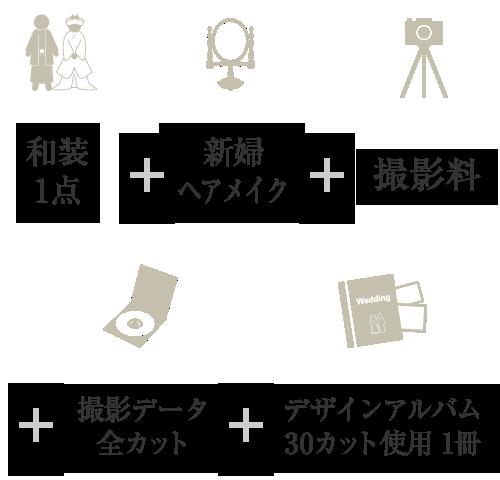 洋装1点+ヘアメイク+撮影料+撮影データ全カット+デザインアルバム30カット使用1冊